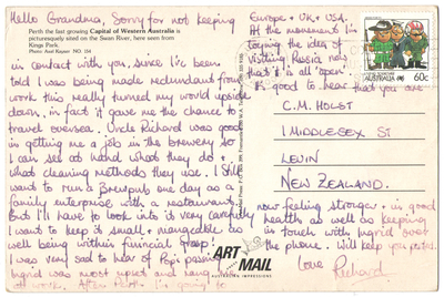 Richard sent a postcard to his Grandma, outlining his dream to one day own a brewpub.