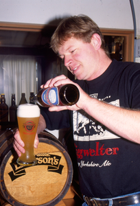 Richard samples Weissbier cultivated with yeast from Weihenstephan University.