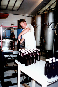 Richard hand bottling.
